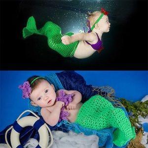 Brand New Knit Mermaid Baby Photo Prop Costume